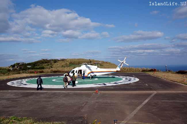 Посадка вертолета на острове